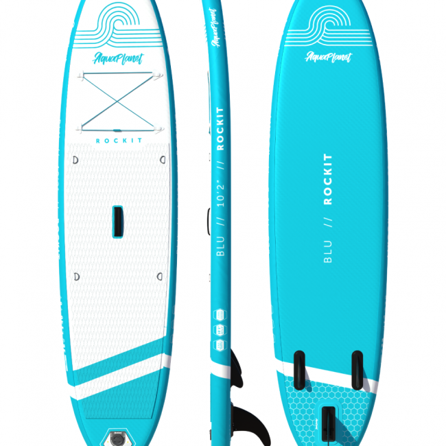 Aquaplanet ROCKIT BLU SUP Package | Stand Up Inflatable Paddle Board Kit | 10′2″ Long