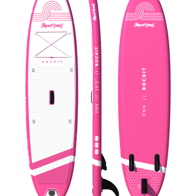 Aquaplanet ROCKIT PNK SUP Package | Stand Up Inflatable Paddle Board Kit | 10′2″ Long