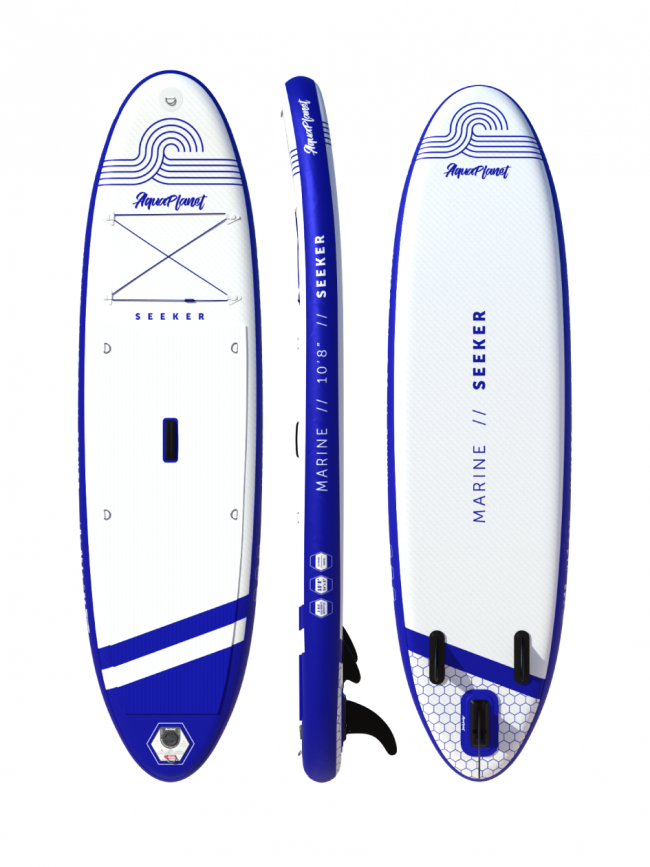 """Aquaplanet SEEKER SUP Package   Stand Up Inflatable Paddle Board Kit   10'8"""" Long"""