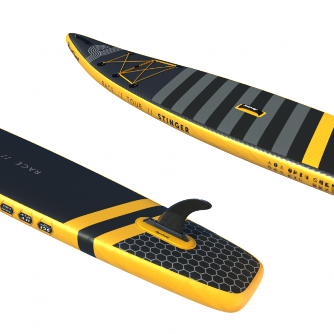 "Aquaplanet STINGER SUP Package | Stand Up Inflatable Paddle Board Kit | 12'6"" Long"